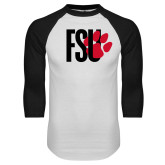 White/Black Raglan Baseball T Shirt-FSU Primary Logo