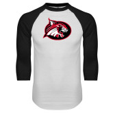White/Black Raglan Baseball T Shirt-Bobcat logo