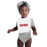 White Baby Bib-Frostburg State Wordmark Logo