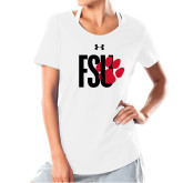 Ladies Under Armour White Charged Cotton Tee-FSU Primary Logo