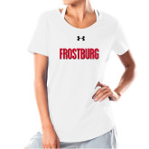 Ladies Under Armour White Charged Cotton Tee-Frostburg State Wordmark Logo