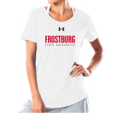 Ladies Under Armour White Charged Cotton Tee-Frostburg State University