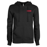 ENZA Ladies Black Fleece Full Zip Hoodie-Frostburg State Wordmark Logo