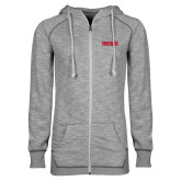 ENZA Ladies Grey/Black Marled Full Zip Hoodie-Frostburg State Wordmark Logo