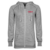 ENZA Ladies Grey/Black Marled Full Zip Hoodie-Frostburg State University