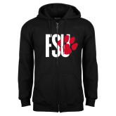 Black Fleece Full Zip Hoodie-FSU Primary Logo