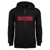 Black Fleece Full Zip Hoodie-Frostburg State Wordmark Logo