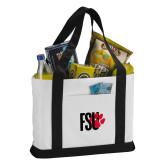 Contender White/Black Canvas Tote-FSU Primary Logo