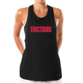 Ladies Under Armour Black Pinhole Tank-Frostburg State Wordmark Logo