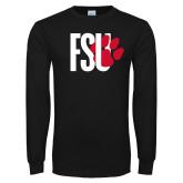 Black Long Sleeve T Shirt-FSU Primary Logo