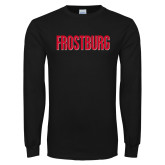 Black Long Sleeve T Shirt-Frostburg State Wordmark Logo