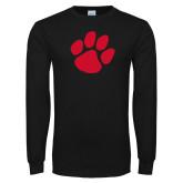 Black Long Sleeve T Shirt-Paw Print