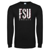 Black Long Sleeve T Shirt-FSU Distressed