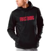 Under Armour Black Armour Fleece Hoodie-Frostburg State Wordmark Logo