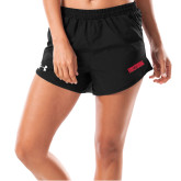 Ladies Under Armour Fly By Black Shorts-Frostburg State Wordmark Logo