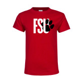 Youth Red T Shirt-FSU Primary Logo