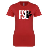 Next Level Ladies SoftStyle Junior Fitted Red Tee-FSU Primary Logo