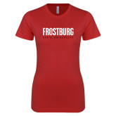 Next Level Ladies SoftStyle Junior Fitted Red Tee-Frostburg State University