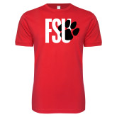 Next Level SoftStyle Red T Shirt-FSU Primary Logo