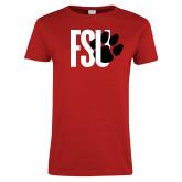 Ladies Red T Shirt-FSU Primary Logo