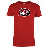 Ladies Red T Shirt-Bobcat logo