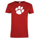 Ladies Red T Shirt-Paw Print