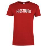 Ladies Red T Shirt-Frostburg Distressed