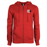 ENZA Ladies Red Fleece Full Zip Hoodie-FSU Primary Logo