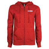 ENZA Ladies Red Fleece Full Zip Hoodie-Frostburg State Wordmark Logo