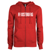 ENZA Ladies Red Fleece Full Zip Hoodie-Frostburg State University