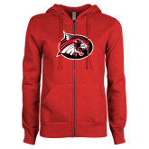 ENZA Ladies Red Fleece Full Zip Hoodie-Bobcat logo