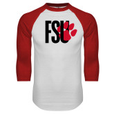 White/Red Raglan Baseball T Shirt-FSU Primary Logo