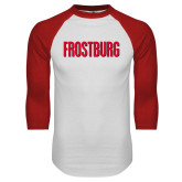 White/Red Raglan Baseball T Shirt-Frostburg State Wordmark Logo