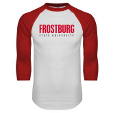 White/Red Raglan Baseball T Shirt-Frostburg State University