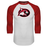 White/Red Raglan Baseball T Shirt-Bobcat logo