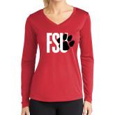 Ladies Syntrel Performance Red Longsleeve Shirt-FSU Primary Logo