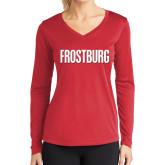 Ladies Syntrel Performance Red Longsleeve Shirt-Frostburg State Wordmark Logo