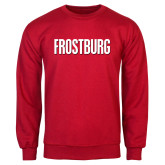 Red Fleece Crew-Frostburg State Wordmark Logo