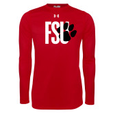Under Armour Red Long Sleeve Tech Tee-FSU Primary Logo
