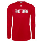 Under Armour Red Long Sleeve Tech Tee-Frostburg State Wordmark Logo