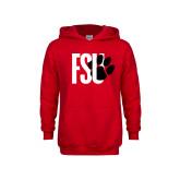 Youth Red Fleece Hoodie-FSU Primary Logo