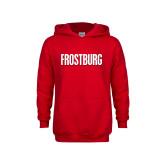 Youth Red Fleece Hoodie-Frostburg State Wordmark Logo
