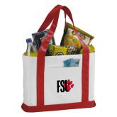 Contender White/Red Canvas Tote-FSU Primary Logo