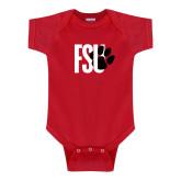 Red Infant Onesie-FSU Primary Logo