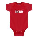Red Infant Onesie-Frostburg State Wordmark Logo