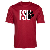 Performance Red Heather Contender Tee-FSU Primary Logo