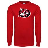 Red Long Sleeve T Shirt-Bobcat logo