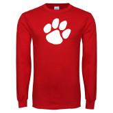 Red Long Sleeve T Shirt-Paw Print
