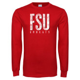 Red Long Sleeve T Shirt-FSU Distressed