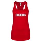 Next Level Ladies Red Ideal Racerback Tank-Frostburg State Wordmark Logo